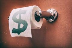 Symbole dollar de rouleau de papier hygiénique images libres de droits