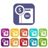 Symbole dollar et panier à vendre des icônes réglées Images stock