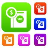 Symbole dollar et panier à vendre la collection réglée Images libres de droits