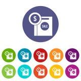 Symbole dollar et panier à vendre les icônes réglées Photo stock