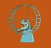 Symbole dollar fonctionnant sur une roue de hamster Image libre de droits