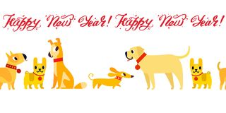 Symbole drôle de chiens jaunes de l'année 2018 Style plat, illustration d'isolement sur un fond blanc Lettrage de bonne année Photos libres de droits