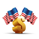 Symbole du dollar avec l'indicateur des Etats-Unis Images stock