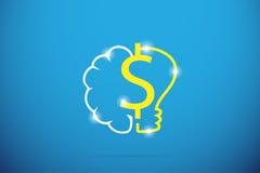 Symbole du dollar avec le cerveau et l'ampoule, l'idée et le concept d'affaires Photo stock