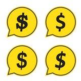 Symbole du dollar dans la bulle de la parole, icône de vecteur Photos libres de droits