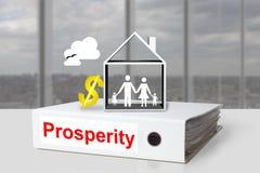 Symbole du dollar de famille de maison de prospérité de reliure de bureau Image libre de droits