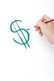 Symbole du dollar de peinture de main Image stock