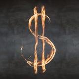 Symbole du dollar du feu Image stock