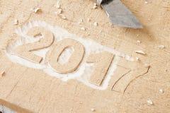 Symbole du numéro 2017 sur la texture en bois Image libre de droits