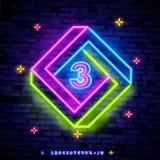 Symbole du numéro trois dans un vecteur multicolore gai d'enseigne au néon de cadre Troisièmement, icône au néon de calibre du nu photographie stock libre de droits