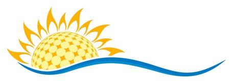 Symbole du soleil avec la vague Photos libres de droits