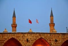 Symbole eines Türkischehalbmondes und Markierungsfahnen von der Türkei Lizenzfreie Stockbilder