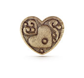 Symbole en bronze de coeur Photo stock