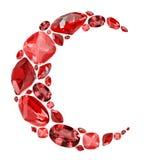 Symbole en croissant de forme des gemmes rouges rouges d'isolement sur le blanc Photo libre de droits