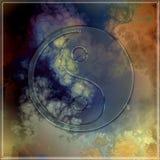 Symbole en verre de yang de yin sur le fond abstrait Photo stock