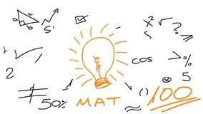 Symbole et éléments de maths d'animation de tableau blanc avec la grande ampoule sur le fond blanc clips vidéos