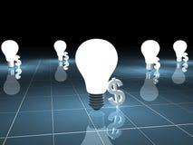 Symbole et ampoule du dollar Photo libre de droits
