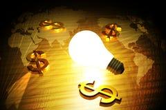 Symbole et ampoule du dollar Images stock