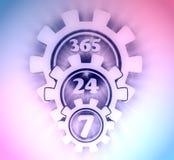 Symbole 7 et 24 d'insigne de synchronisation illustration stock