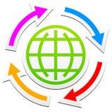 Symbole et flèches d'ensemble de globe Illustration Stock