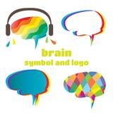 Symbole et logo de cerveau Photos stock