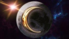 Symbole et planète d'horoscope de zodiaque de lune rendu 3d Photographie stock libre de droits