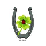 Symbole für gutes Glück, Hufeisen, Klee, Marienkäfer Seien Sie glücklich Stockfoto