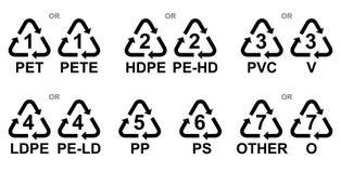 Symbole für Markierungsarten des Plastiks lizenzfreie stockfotos