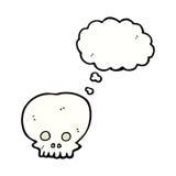 symbole fantasmagorique de crâne de bande dessinée avec la bulle de pensée Image stock