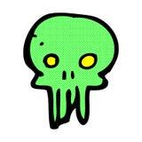symbole fantasmagorique de crâne de bande dessinée comique Image stock