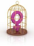 Symbole femelle dans une cage. Photographie stock libre de droits