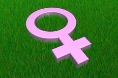 Symbole femelle rose sur l'herbe illustration de vecteur