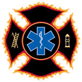 Symbole flamboyant de sauvetage d'incendie Photographie stock