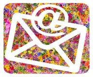 Symbole floral d'enveloppe et d'email Photos libres de droits