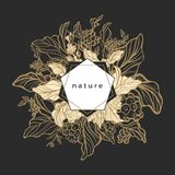 Symbole floral royal de vecteur Branche de café Photographie stock