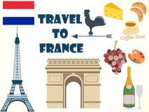 Symbole Francja Set Turystyka royalty ilustracja