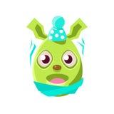 Symbole Girly vert formé Emoji de vacances religieuses de Pâques Bunny Schievering With Cold Colorful d'oeuf de pâques Image stock
