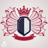 Symbole graphique stylisé de vecteur d'empire Bouclier avec le sta du vol 3d illustration libre de droits