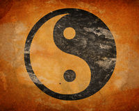 Symbole grunge de yang de yin Photo libre de droits