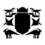 Symbole héraldique de dinosaure et de bouclier Bête de Dino Sign Prehistoric Photos libres de droits