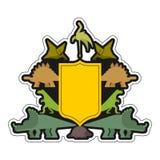 Symbole héraldique de dinosaure et de bouclier Bête de Dino Sign Prehistoric Photographie stock
