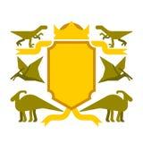 Symbole héraldique de dinosaure et de bouclier Bête de Dino Sign Prehistoric Photographie stock libre de droits