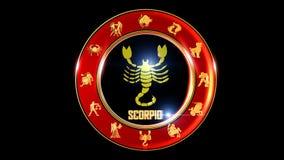 Symbole indien de zodiaque de Scorpion banque de vidéos
