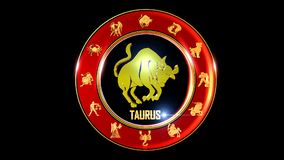 Symbole indien de zodiaque de Taureau banque de vidéos