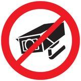 Symbole interdit par caméra de sécurité Image stock