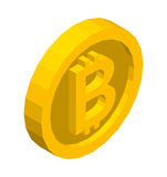 Symbole isométrique d'or de Bitcoin Illustration 3d de vecteur Photo libre de droits