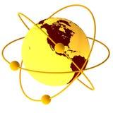 Symbole jaune d'atome illustration de vecteur
