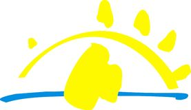 Symbole jaune du soleil Images stock