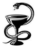 Symbole médical - serpent sur la cuvette Photo stock