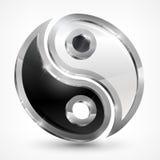 Symbole métallique de yang de Yin Photos libres de droits